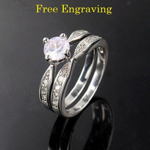 Free engraving 2 pcs platinum couples ring set engagement rings wedding ... - $324,26 MXN