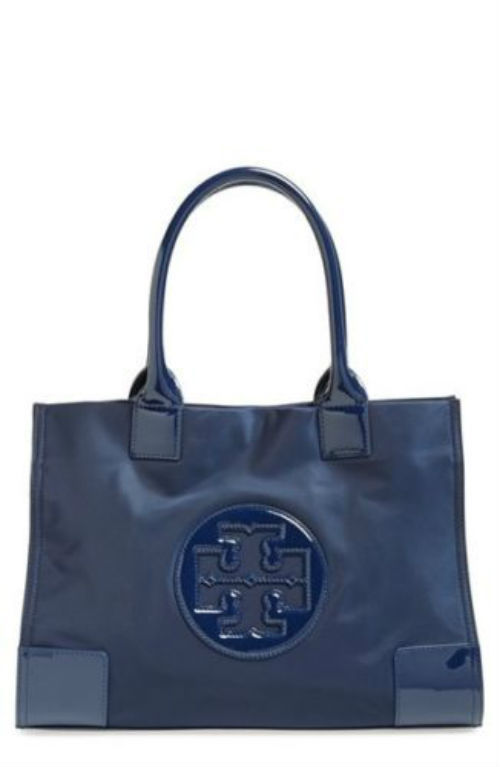 Primary image for Tory Burch Navy Blue Nylon Ella Mini Tote Elegant Daily Errand Style Fashion Bag