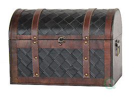 Vintiquewise Wooden Leather Treasure Chest - $50.94