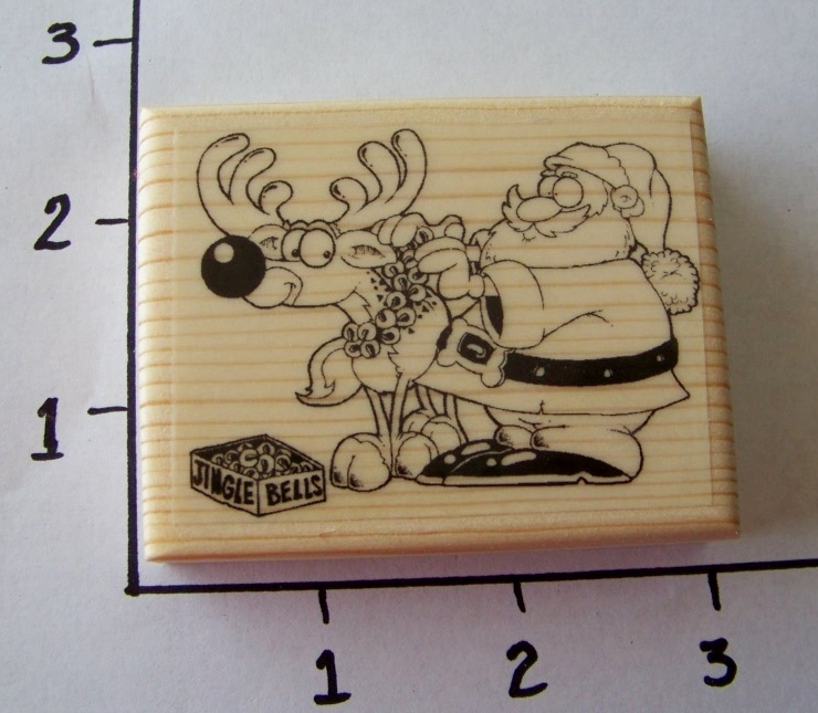 CIJS SANTA DRESSING RUDOLPH new mounted rubber stamp