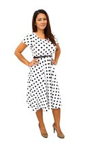DBG Women's White Black Polka Dots Short Sleeves Scoop Neck Polyester Dr... - $39.59