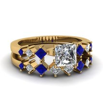 0.75Ct White & Blue Sapphire Kite Series Wedding Ring Set 14K Yellow Gold Finish - $269.62