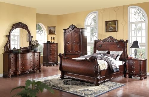 Meridian Regal Queen Size Sleigh Bedroom Set 5pc. Traditional Style