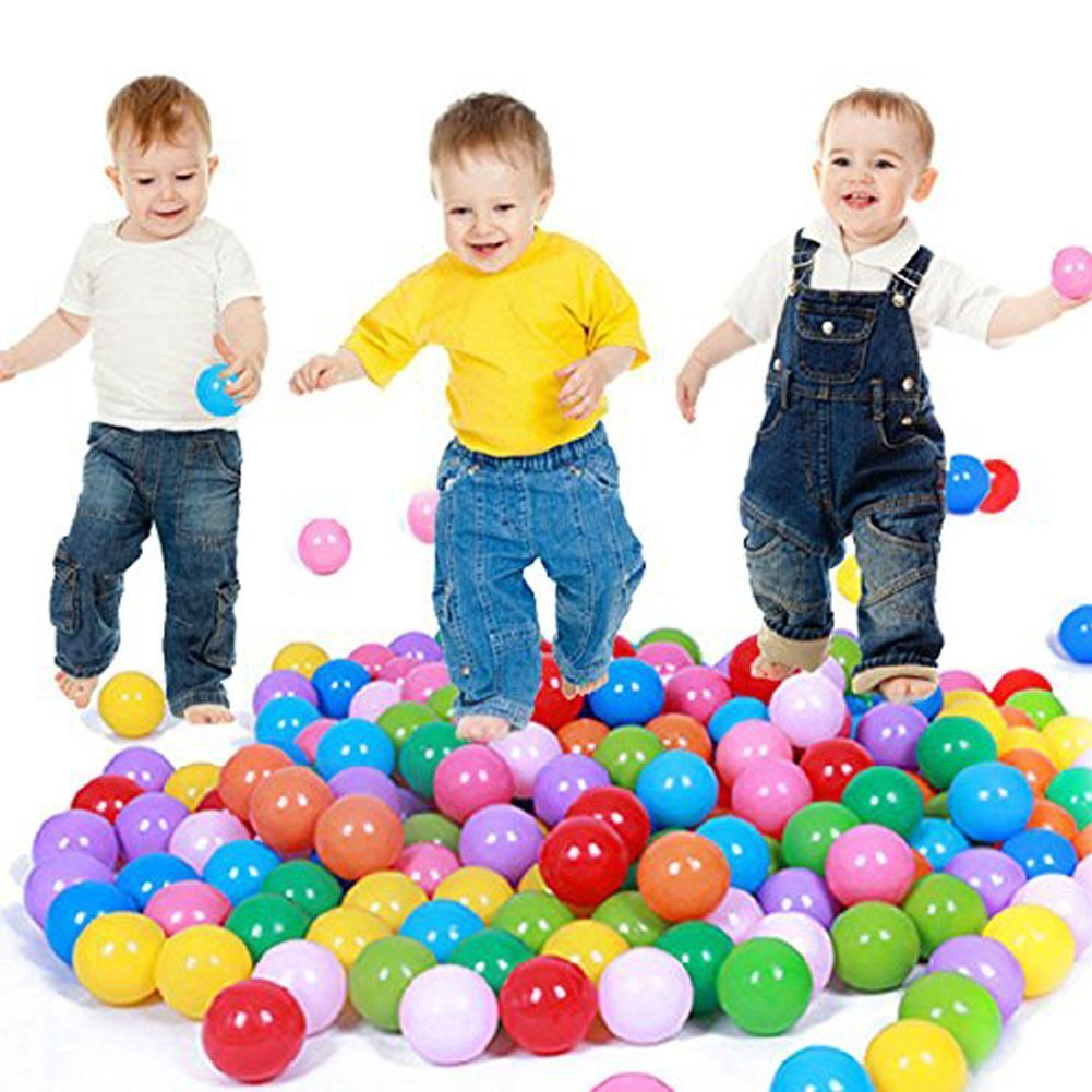 E Support™ 300PCS Colorful Plastic Ball Pit Balls Baby Kids Tent Swim T...