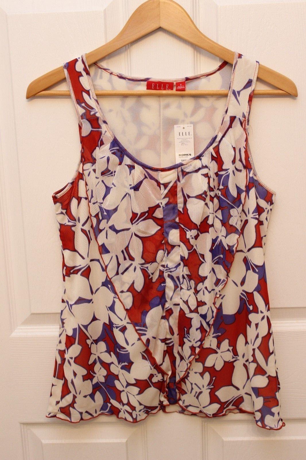 Elle Sleeveless Pleated V Ruffle Tank Top Size S  floral chiffon mesh detail  - $17.32