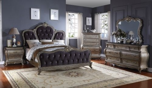 Meridian Roma Queen Size Panel Bedroom Set Traditional Style 2 Night Stands