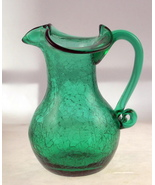 Vintage rainbow art glass crackle pitcher green 1 thumbtall