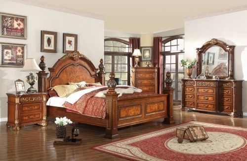 Meridian Royal King Size Panel Bedroom Set Traditional Style 2 Night Stands
