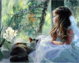Cute Girl 16X20 Paint By Number Kit DIY Acrylic Painting on Canvas Linen Unframe - $8.99