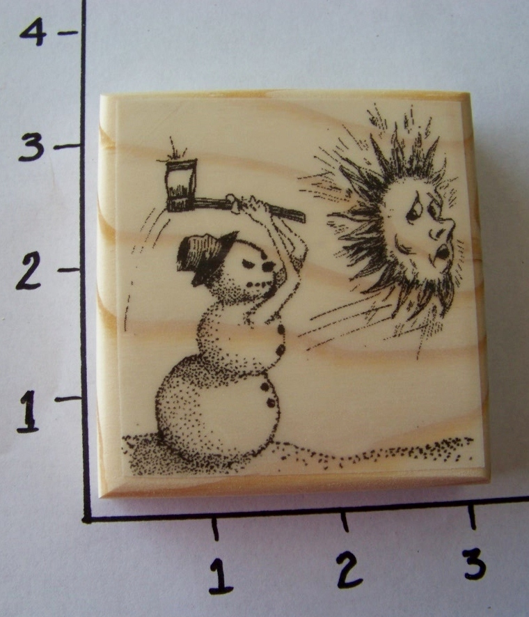 SNOWMAN CHASING SUN-NEW mounted rubber stamp