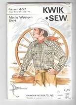 "Vintage Kwik Sew Men's Western Cowboy Shirt Sewing Pattern 457 Uncut 36""... - $15.99"