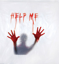 Psycho BLOODY HELP ME SHOWER CURTAIN-Haunted House Window Morgue Prop De... - $29.67