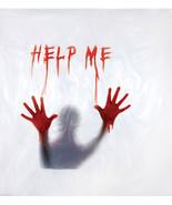 New Psycho BLOODY HELP ME SHOWER CURTAIN-Window Morgue Halloween Prop De... - $26.70