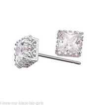 Earring Princess Cut CZ Stud Silvertone Pierced Earrings ~NEW~ Circa 201... - $19.75