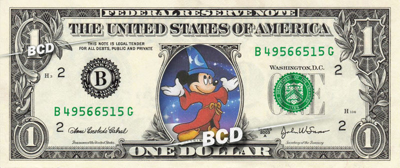 Disney MAGICAL COLLECTION ( 7 Bills ) on REAL Dollar Bill Cash Money Bank Note