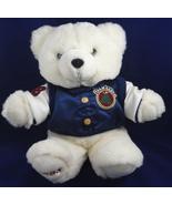 Team Santa 1998 Off White Christmas Plush Teddy Bear 98 Blue HS Football... - $8.99