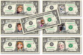 Disney FROZEN 7-set Collection on REAL DOLLAR BILL Money Cash Disney's Mint - $38.00