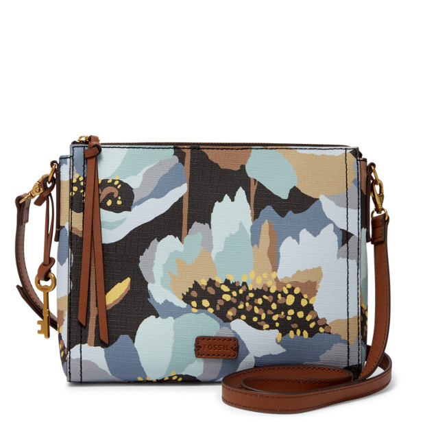 Fossil Emma Dark Floral PVC EW Zipper Closure Back Slide Pocket Crossbody