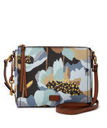 Fossil Emma Dark Floral PVC EW Zipper Closure Back Slide Pocket Crossbody  - $229.99