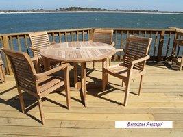 "Windsor's Premium Grade A Teak, Barcelona 39"" Round Drop Leaf Table W/4 Casa ... - $2,050.00"