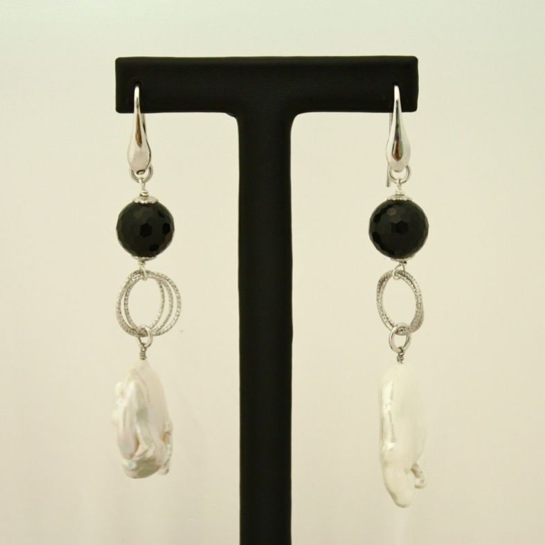925 Silver Earrings with Onyx Baroque Pearls