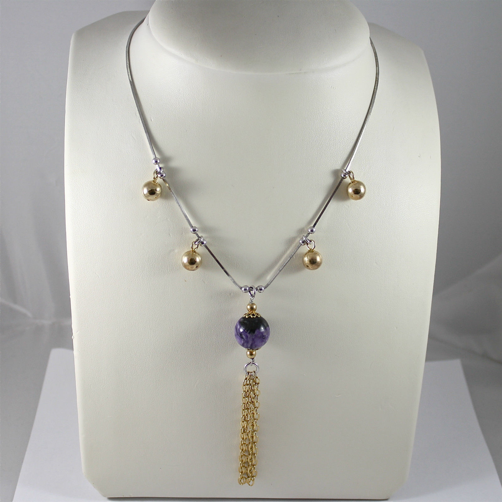 925 Silver Necklace Rhodium, Enamel Purple Hot Yellow Gold, Rolling