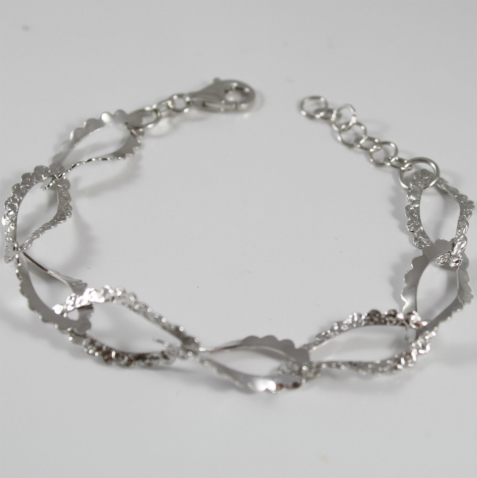 Bracelet in Sterling Silver 925 Rhodium with WORKED OVAL MESH