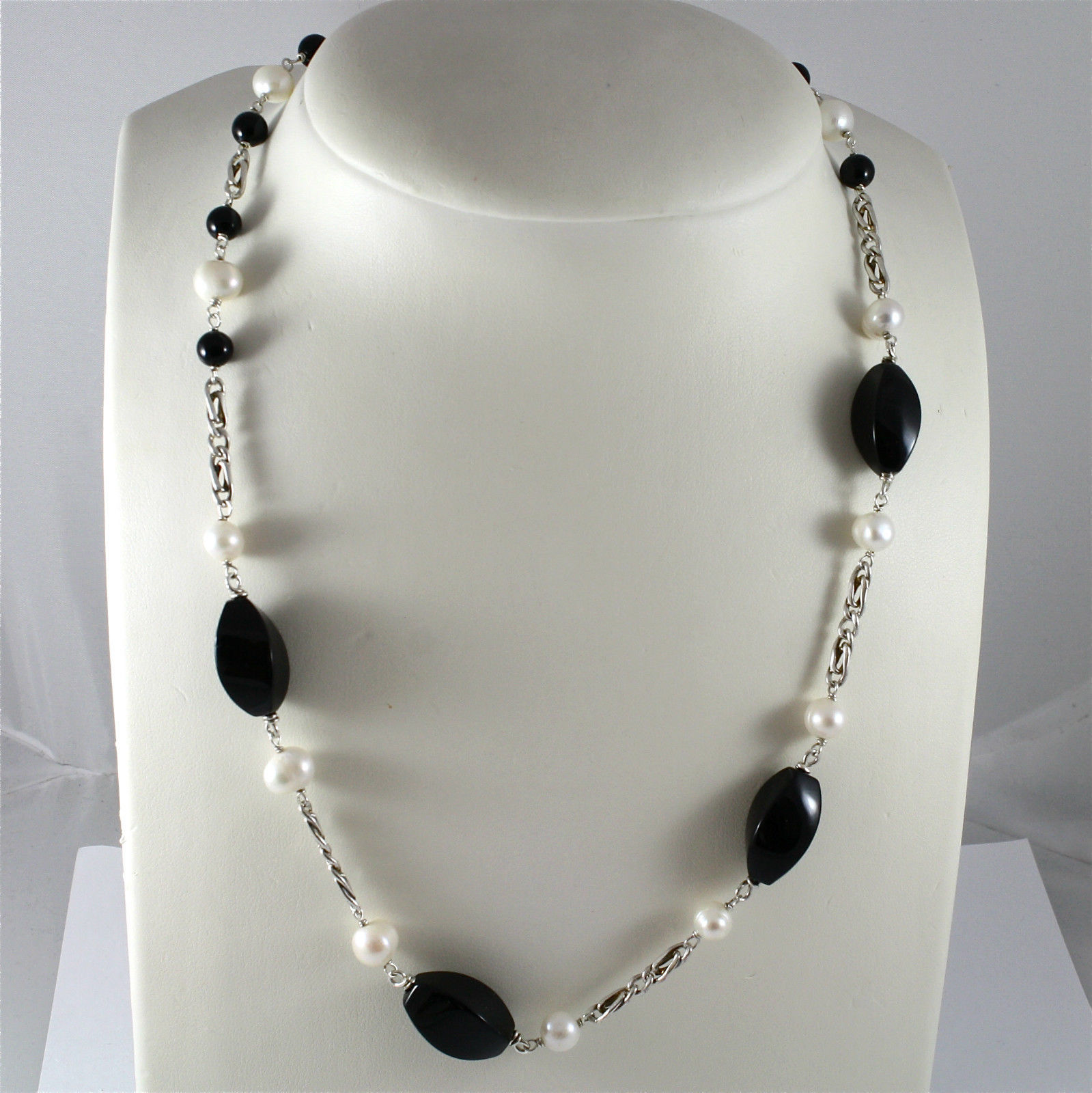 925 Silver Necklace Rhodium, Onyx Black, White Pearls, wide mesh
