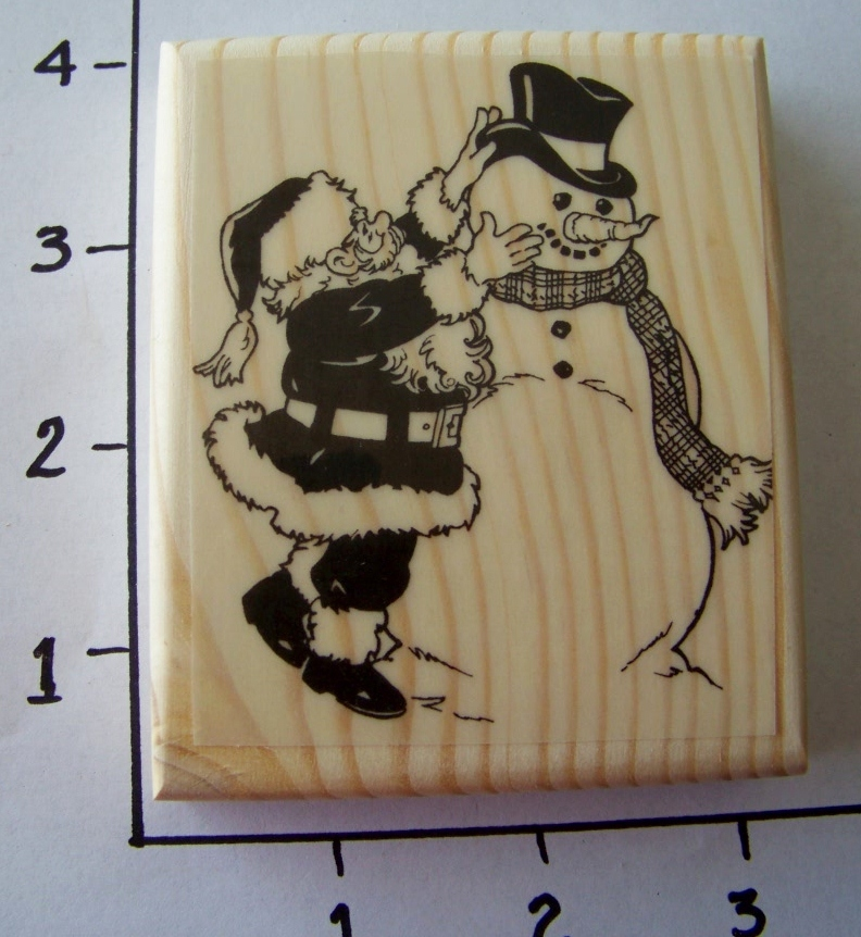 SANTA DRESSING SNOWMAN NEW mounted rubber stamp