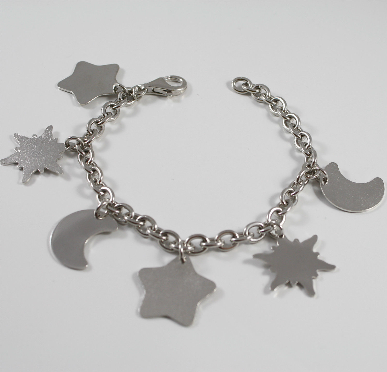 Bracelet in Sterling Silver 925 Rhodium, with Charms Shaped Moons, Stars, Suns