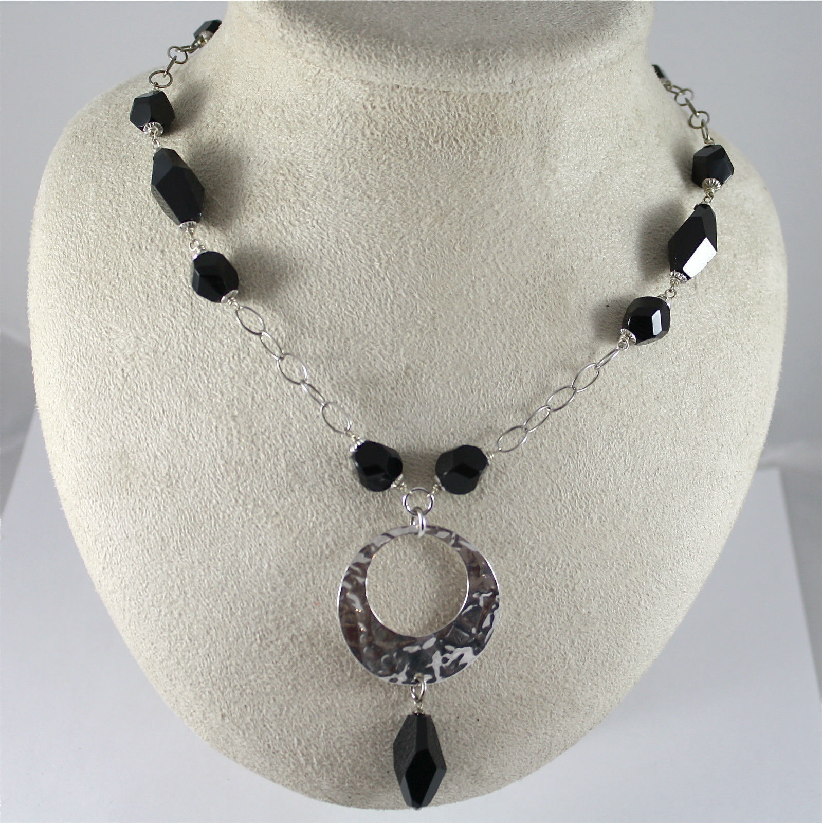 925 Silver Necklace Rhodium, Onyx Black, Pendant Hammered