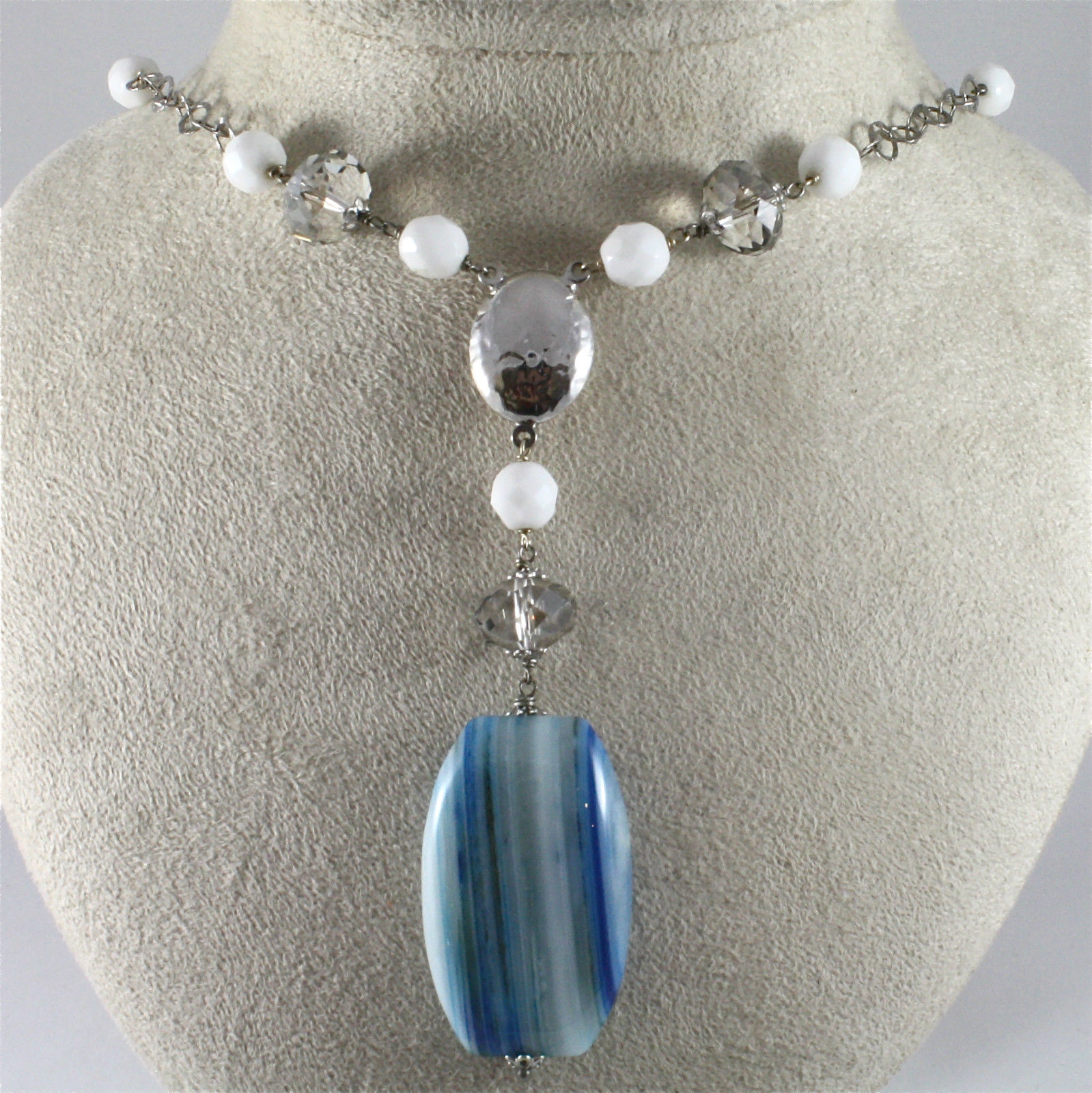 925 Silver Necklace, Rhodium with Crystals and Agate White and Blue