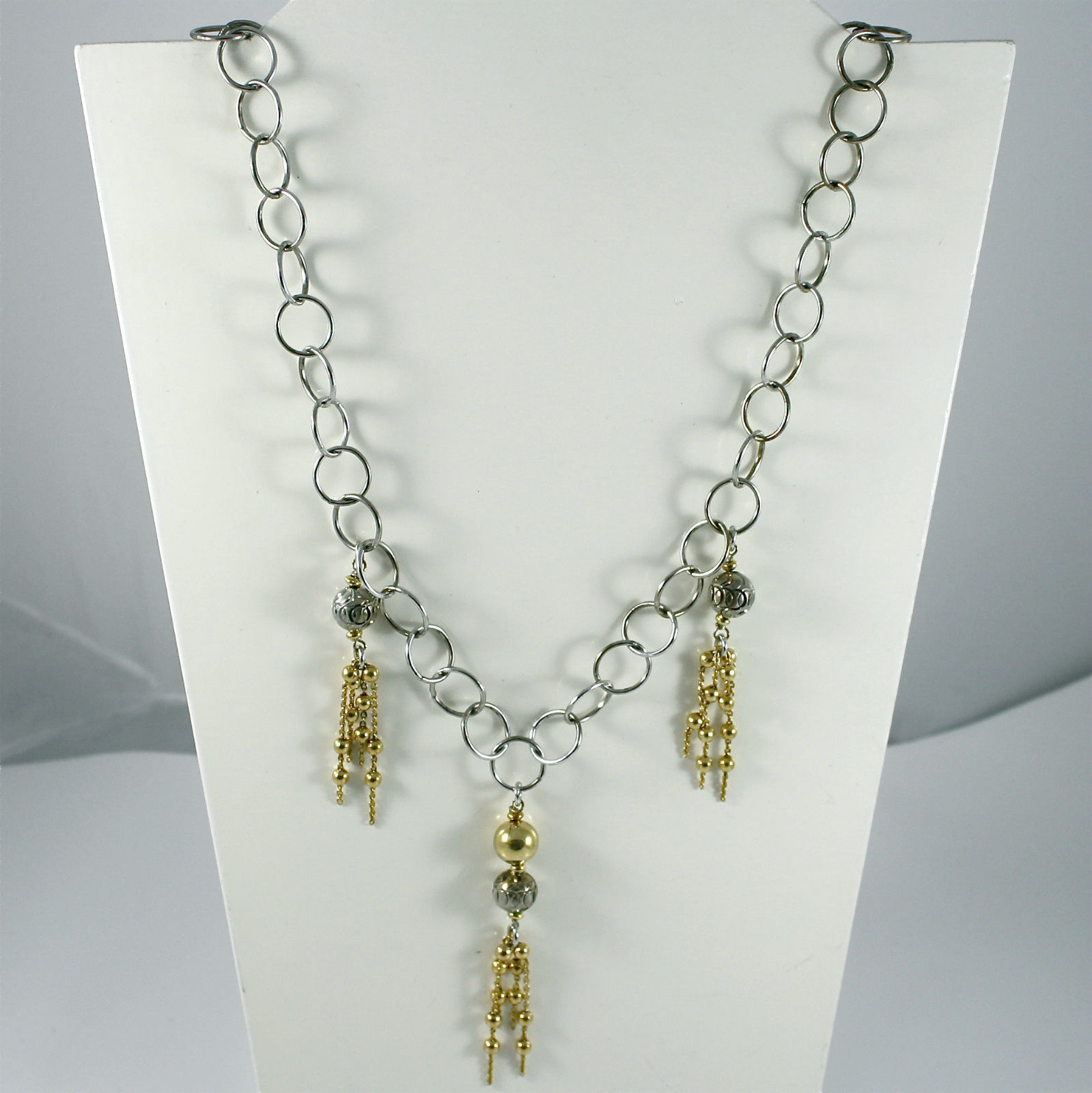 925 Silver Necklace, Rhodium, 3 Cascades of Balls Yellow Gold Plated