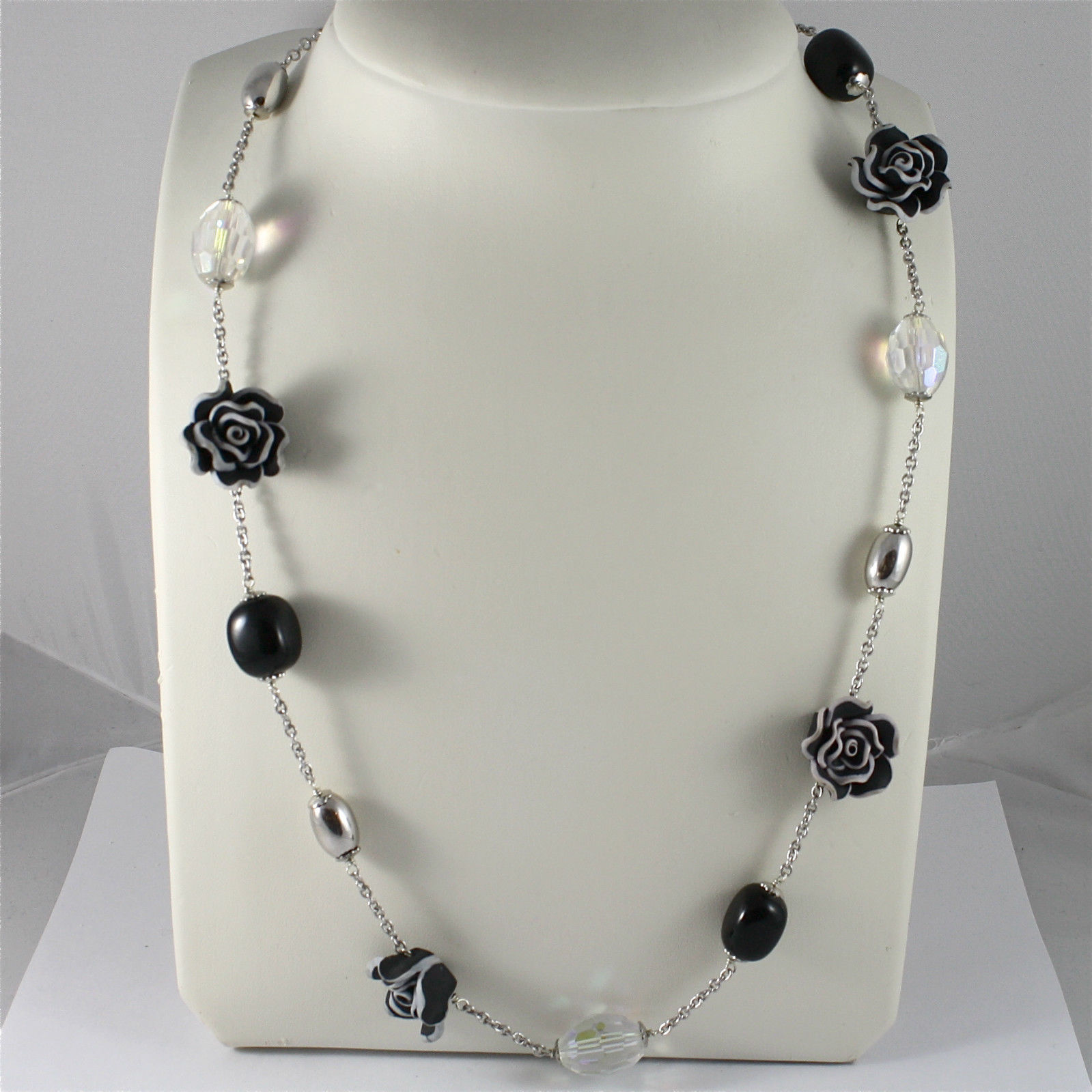 925 Silver Necklace Rhodium, Onyx Black, Crystals, Rose Resin