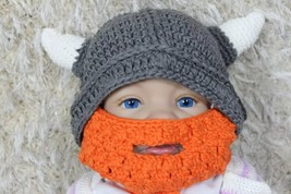 New Handmade Grey Vikings Hat Full Beard Hat Knit Crochet Hat Baby Hat C... - $10.99