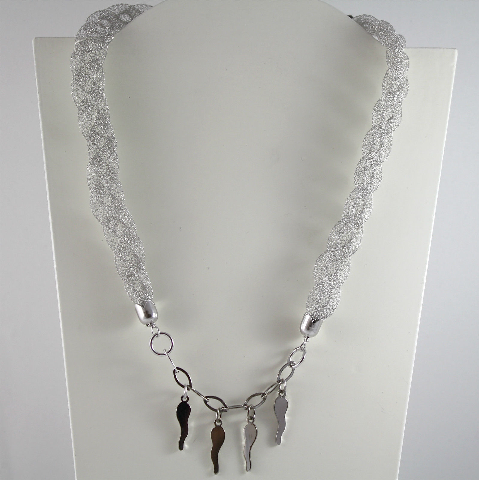 925 Silver Necklace, Rhodium, wire Organza Braided and Selma
