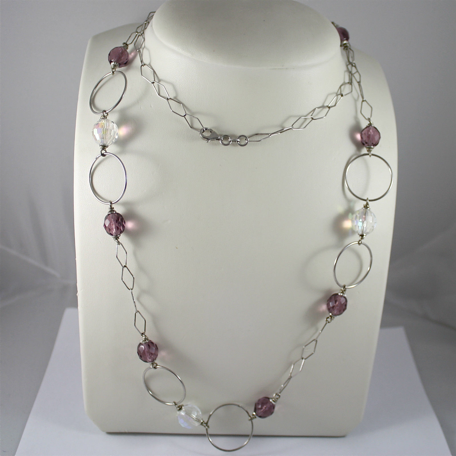 925 Silver Necklace rhodium, crystals purple and transparent, Circles
