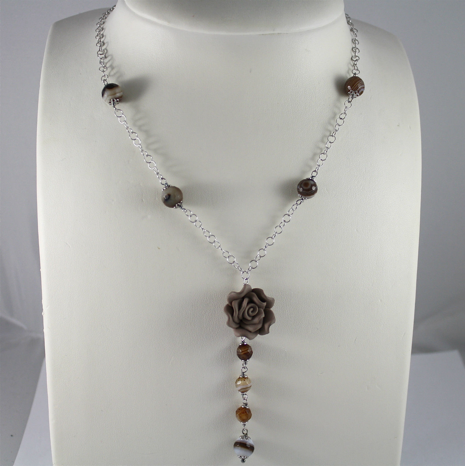 925 Silver Necklace Rhodium, Agate Flycatcher, Pink Resin, sciarpina
