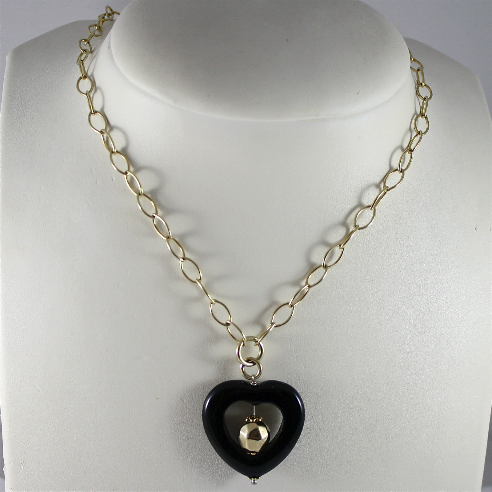 925 Silver Necklace Laminate Gold Yellow, Pendant Black Heart Onyx