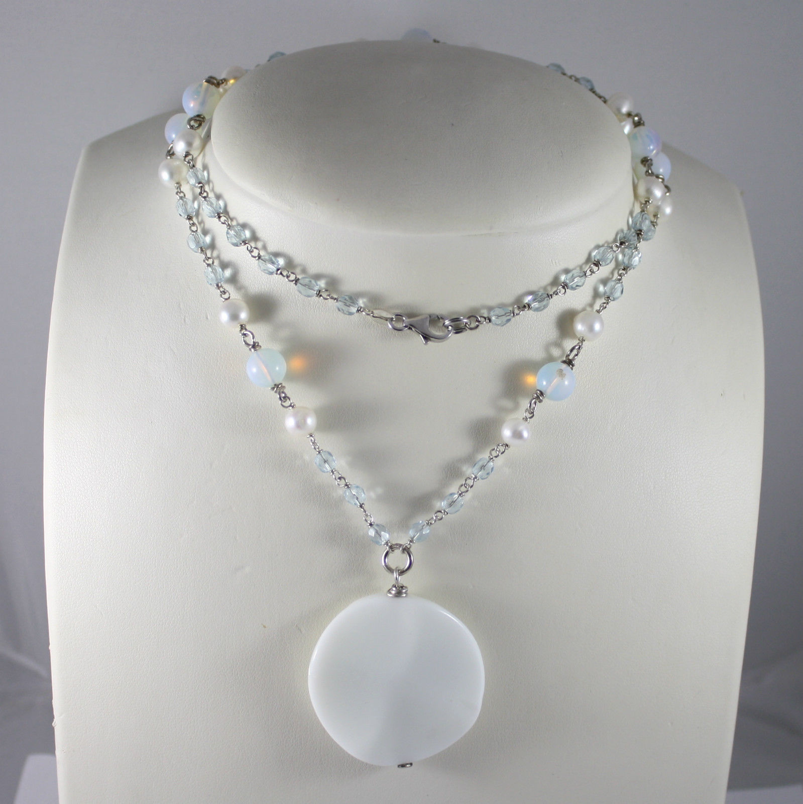 925 Silver Necklace Rhodium, Mother of Pearl, Pearls, Crystals, Opal