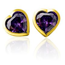 Women/Children 14K Yellow Gold Heart Shape Amethyst Screw Back Earring  3mm-5mm - $16.82+