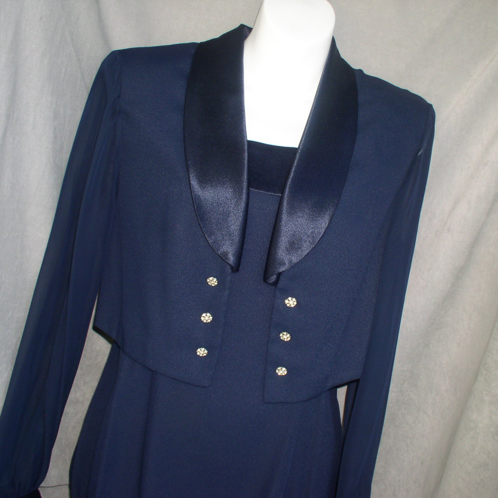 Long Dress Formal Dress and Bolero Jacket Navy Blue J.R. Nites Size 6