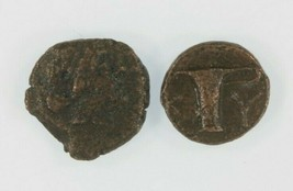Ancien Grèce 2-coin Kit 350 BC & 250 BC Cyme Aeolis AE Amazone Aigle Vase - $69.27