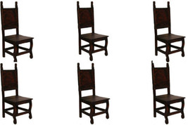 Set of Six Dark Yucatan Wood Seat Chair Solid Wood Rustic Western Cabin ... - $1,088.99