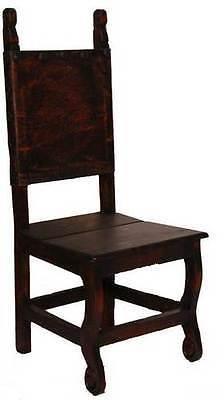 Set of Six Dark Yucatan Wood Seat Chair Solid Wood Rustic Western Cabin Lodge