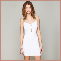 Bohemian Sleeveless Spaghetti Strap Stretchy Jersey Knitted Mini Slip Dress image 7