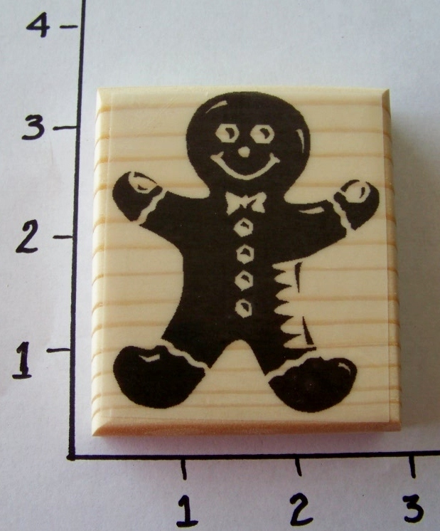 SOLID GINGERBREAD MAN-NEW mounted rubber stamp