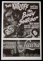 BORIS KARLOFF BELA LUGOSI MOVIE AD POSTER OF 1945 HORROR FILM THE BODY S... - $18.99
