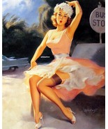 BILL MEDCALF PINUP GIRL POSTER SEXY PINK & WHITE DRESS BUS STOP PHOTO AR... - $4.99