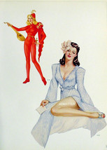 VARGAS 2-SIDED 9X12 PIN-UP GIRL POSTER 4 SEXY LADIES FROM 1942 VARGA PAI... - $6.89